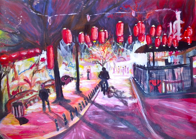 New painting: Bejing markets at twilight